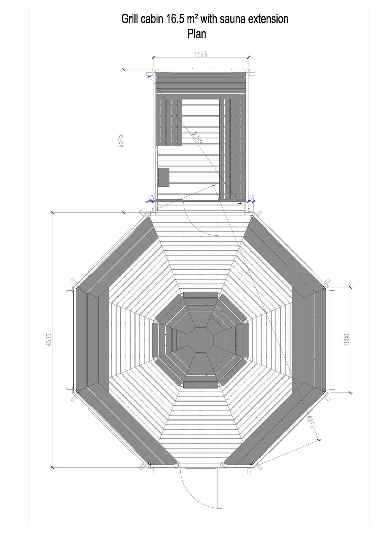 le kota grill 16,5m2 avec extension sauna bois ou électrique est un