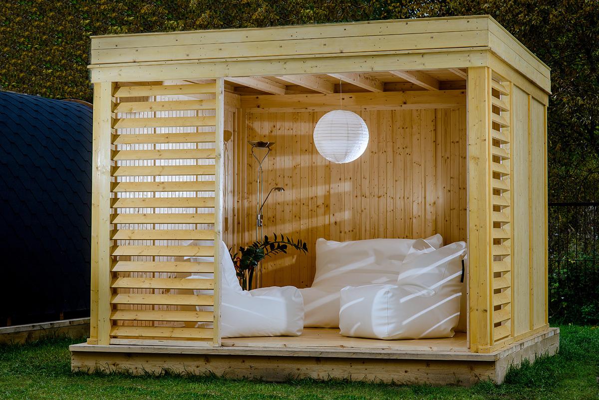 Cube Jardin chalet d'extérieur, le pavillon de jardin cube est contemporain et
